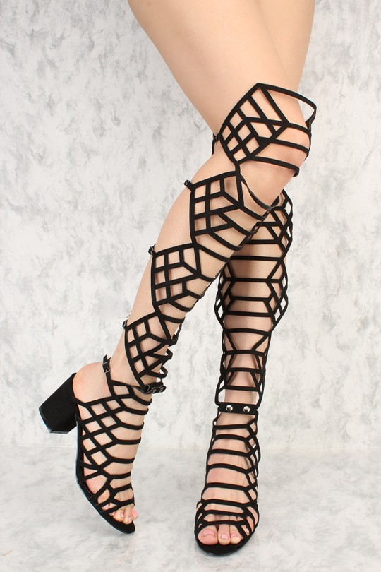 Gladiator Sandals Knee High Heels xfjolbFH