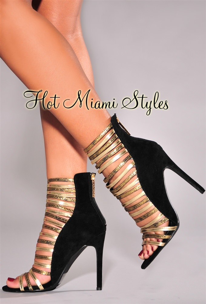 Gold And Black Strappy Heels dReJ1l50