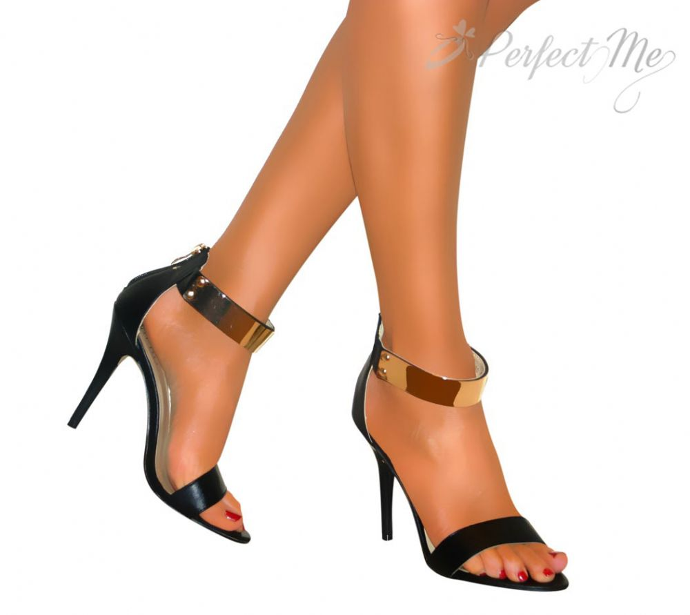 Gold And Black Strappy Heels YZNFfz2L