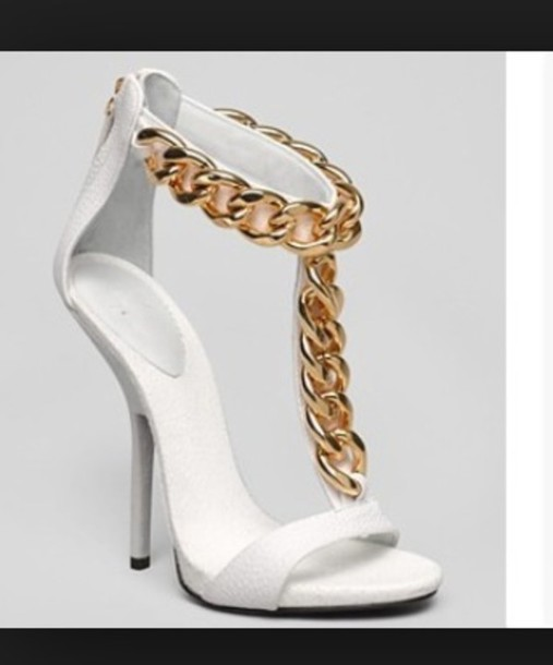 Gold And White High Heels NCbkXCil