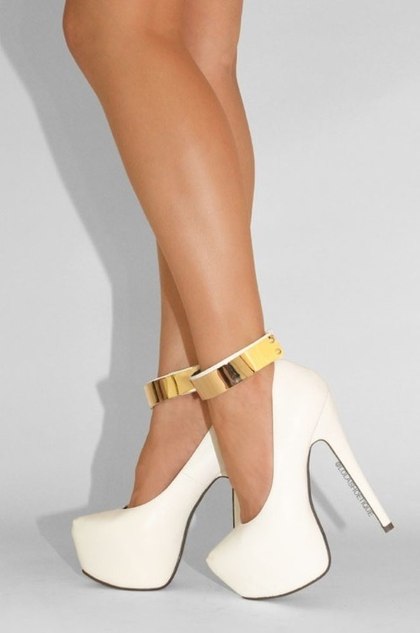 Gold And White High Heels flVIk9dP
