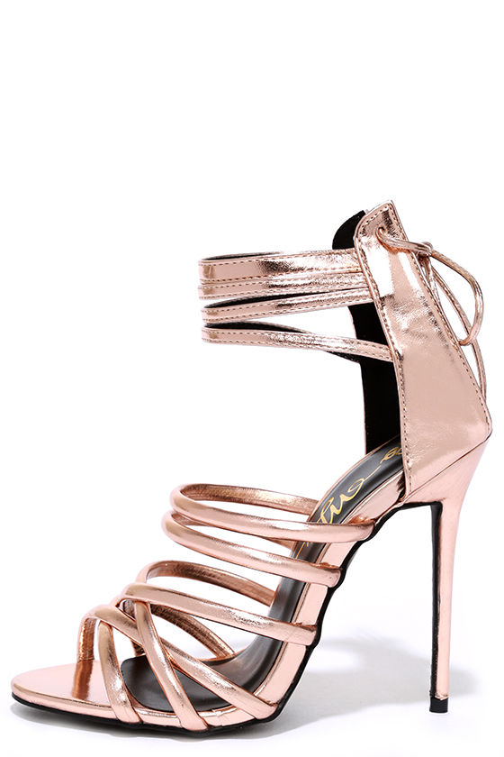 Gold Caged Heels 84Gm8DN3