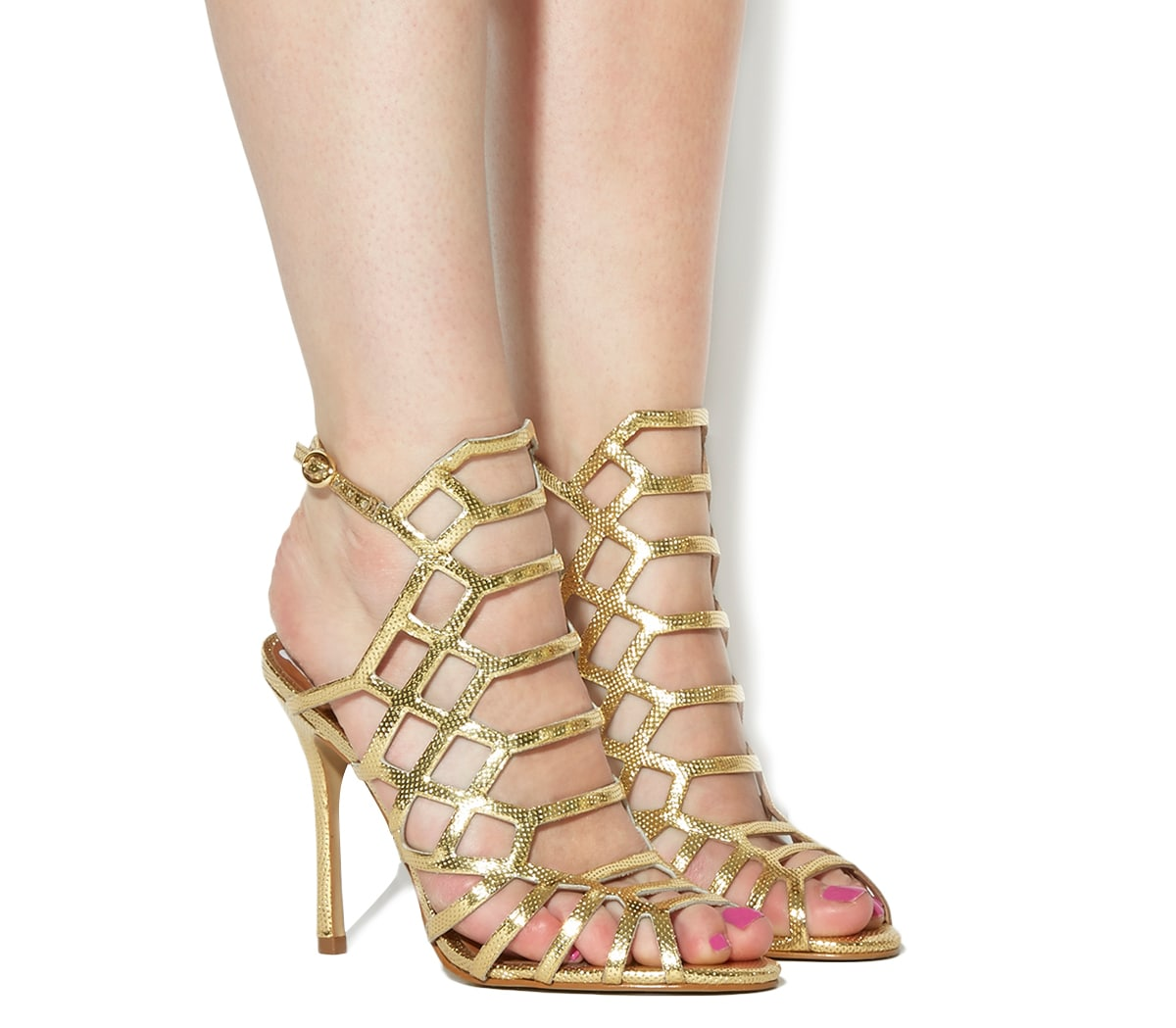 Gold Caged Heels rAvSH0to