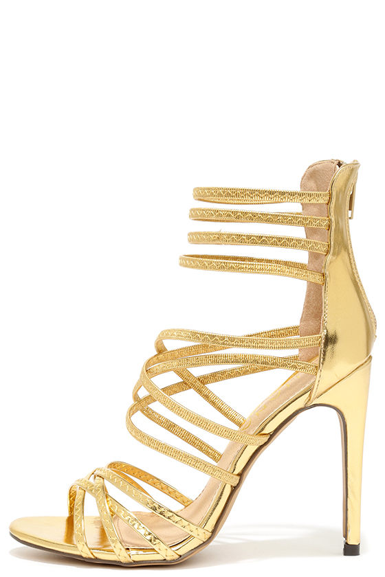 Gold Caged Heels vbhFREoU