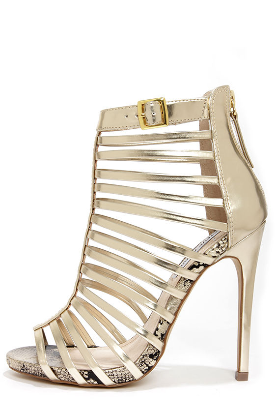Gold Caged Heels EcHEjYcF