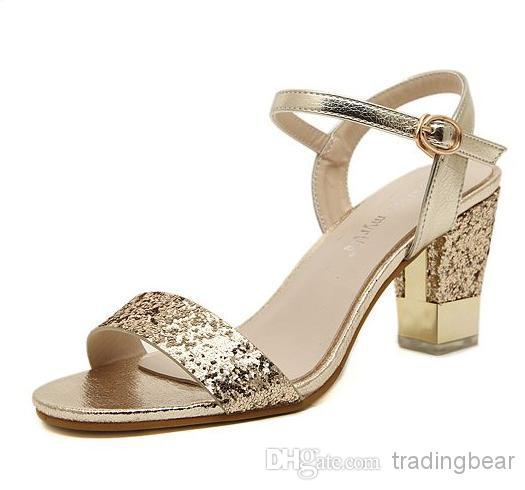 Gold Chunky Heel Shoes rgKHLtEr