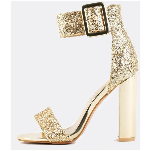 Gold Chunky Heel Shoes tihzN1on