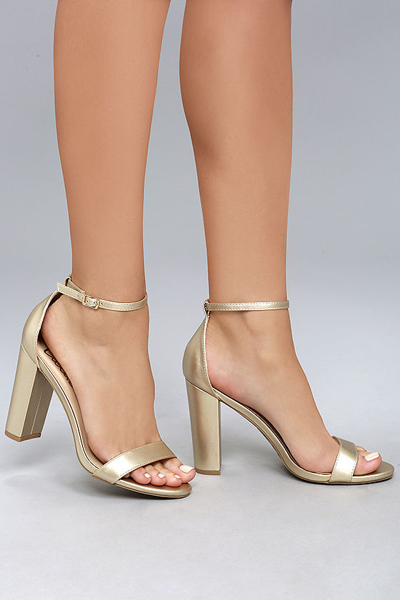 Gold Heels With Ankle Strap TK96O1VH