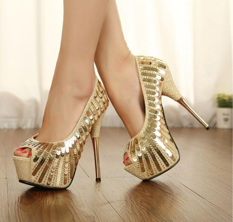 Gold High Heel Pumps YbcS4sU8