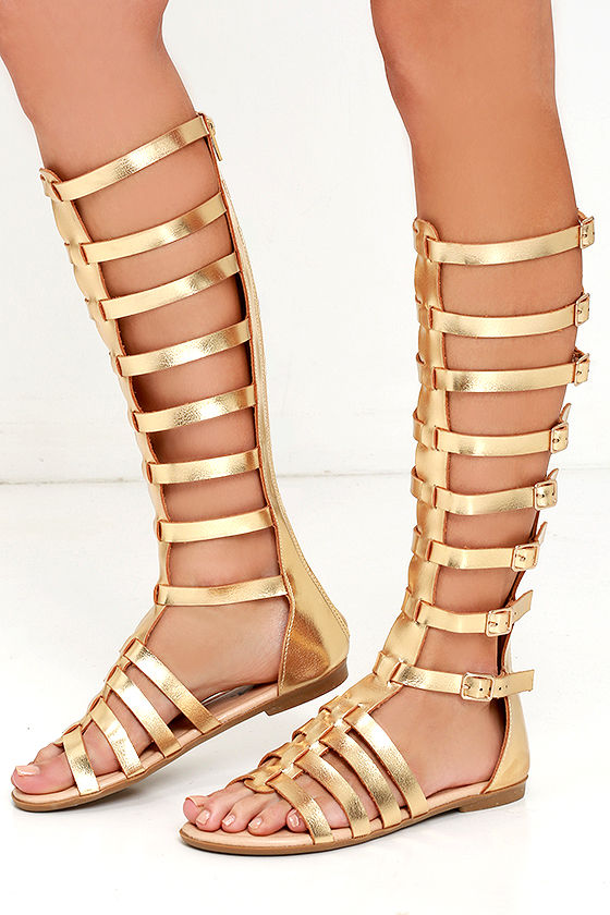 Gold Knee High Gladiator Heels RYYVPClY