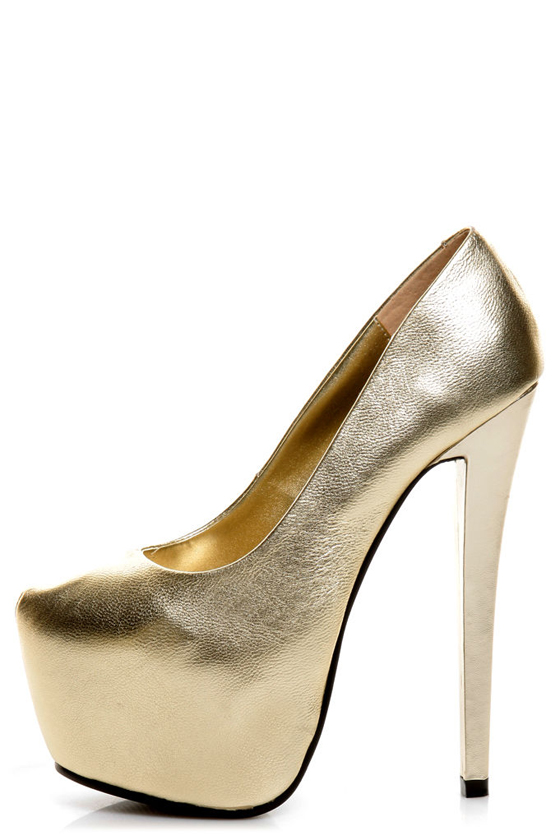 Gold Leather Heels ucl5ntum