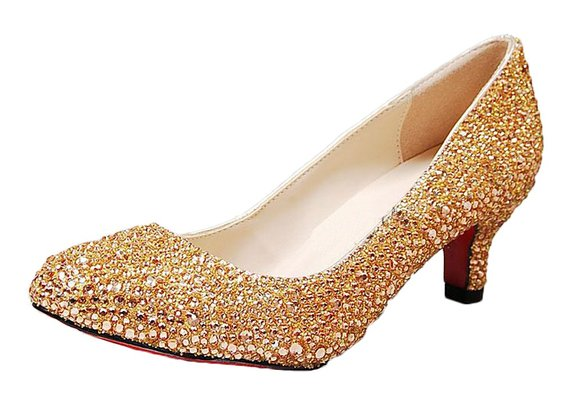 Gold Low Heel Dress Shoes 13IYBclM