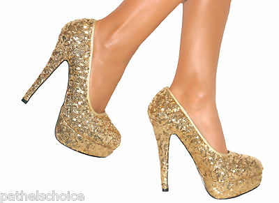 Gold Sparkly High Heels u2Iq46G5