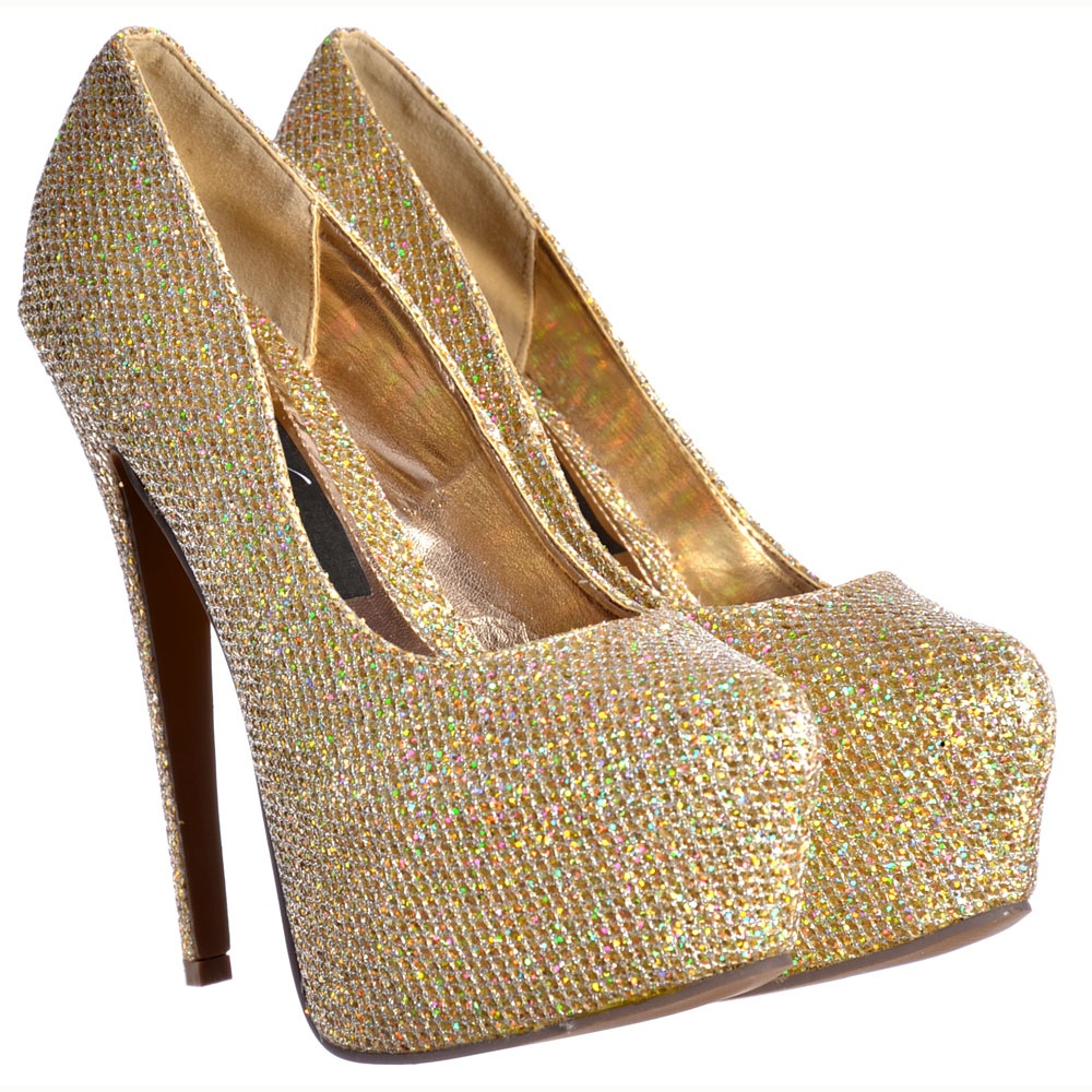 Gold Sparkly High Heels vZRsUrJf