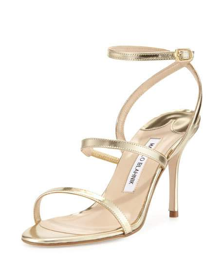 Gold Strappy High Heel Sandals 36LcuGd7