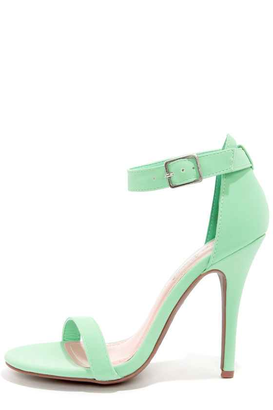 Green Ankle Strap Heels Q0kWh8bc