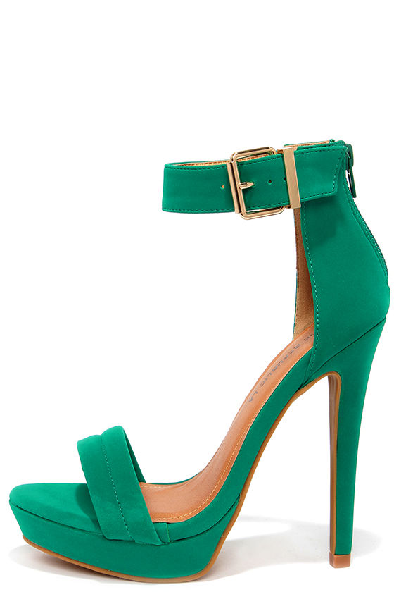 Green Ankle Strap Heels J35Owpny