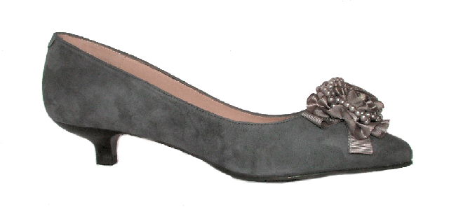 Grey Kitten Heel Pumps ks3gfDnz