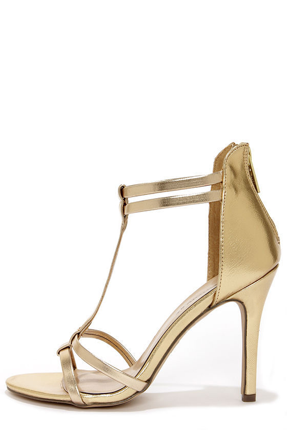 High Heel Gold Sandals KmgreFI4