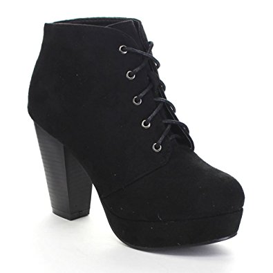Lace Up Booties Chunky Heel XTgGbJAk