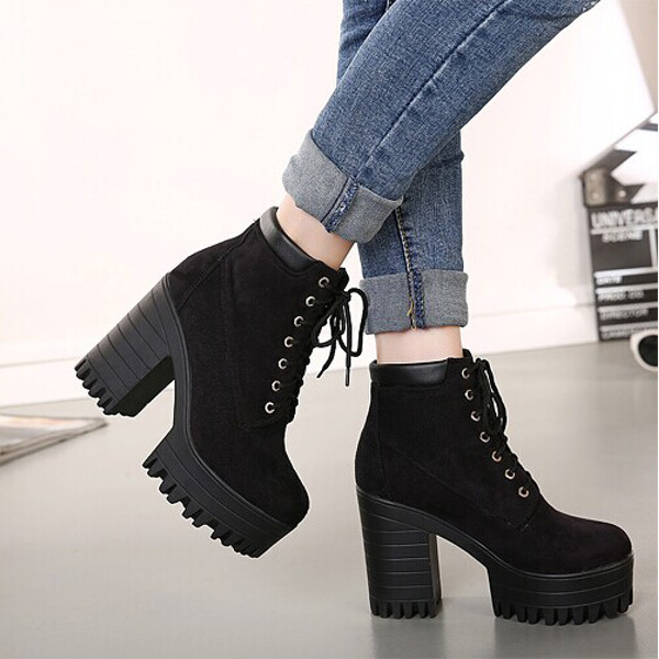 Lace Up Booties Chunky Heel 8BH50Q9q