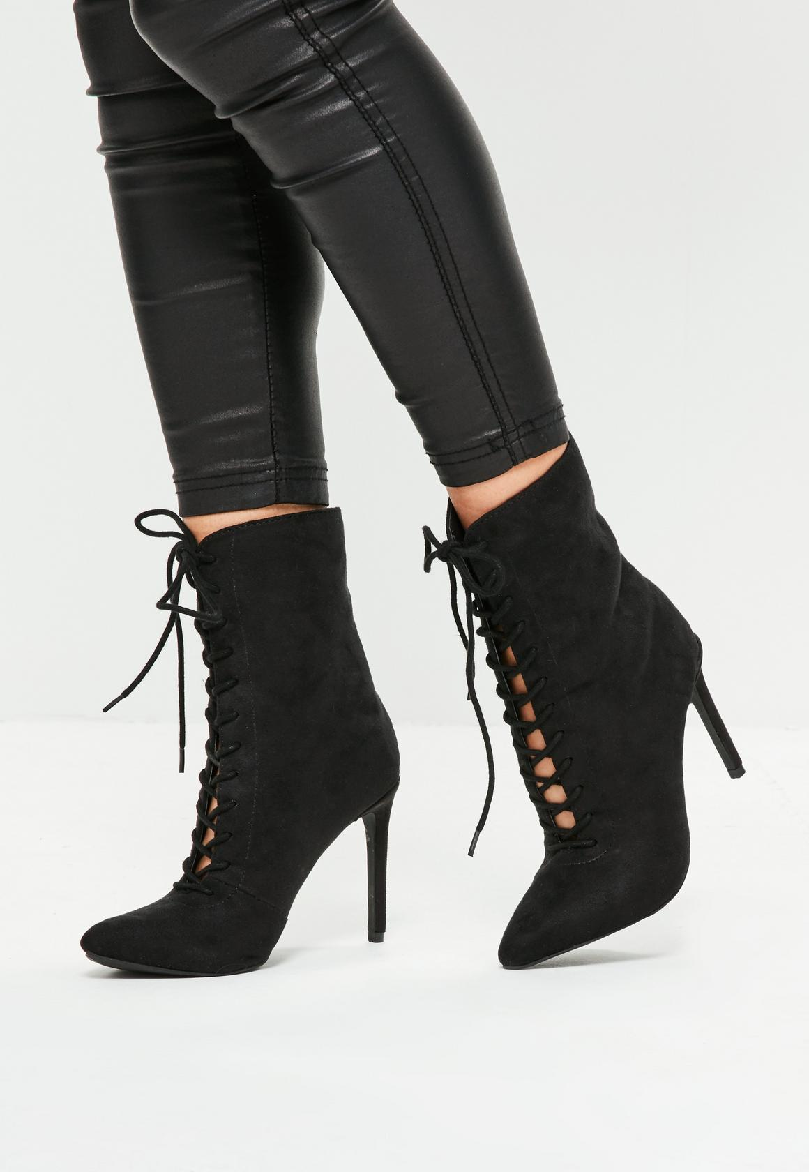 Lace Up Booties Heels 6SLSPdwA