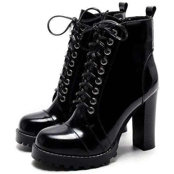 Lace Up Booties With Chunky Heel VFmlk9Dd