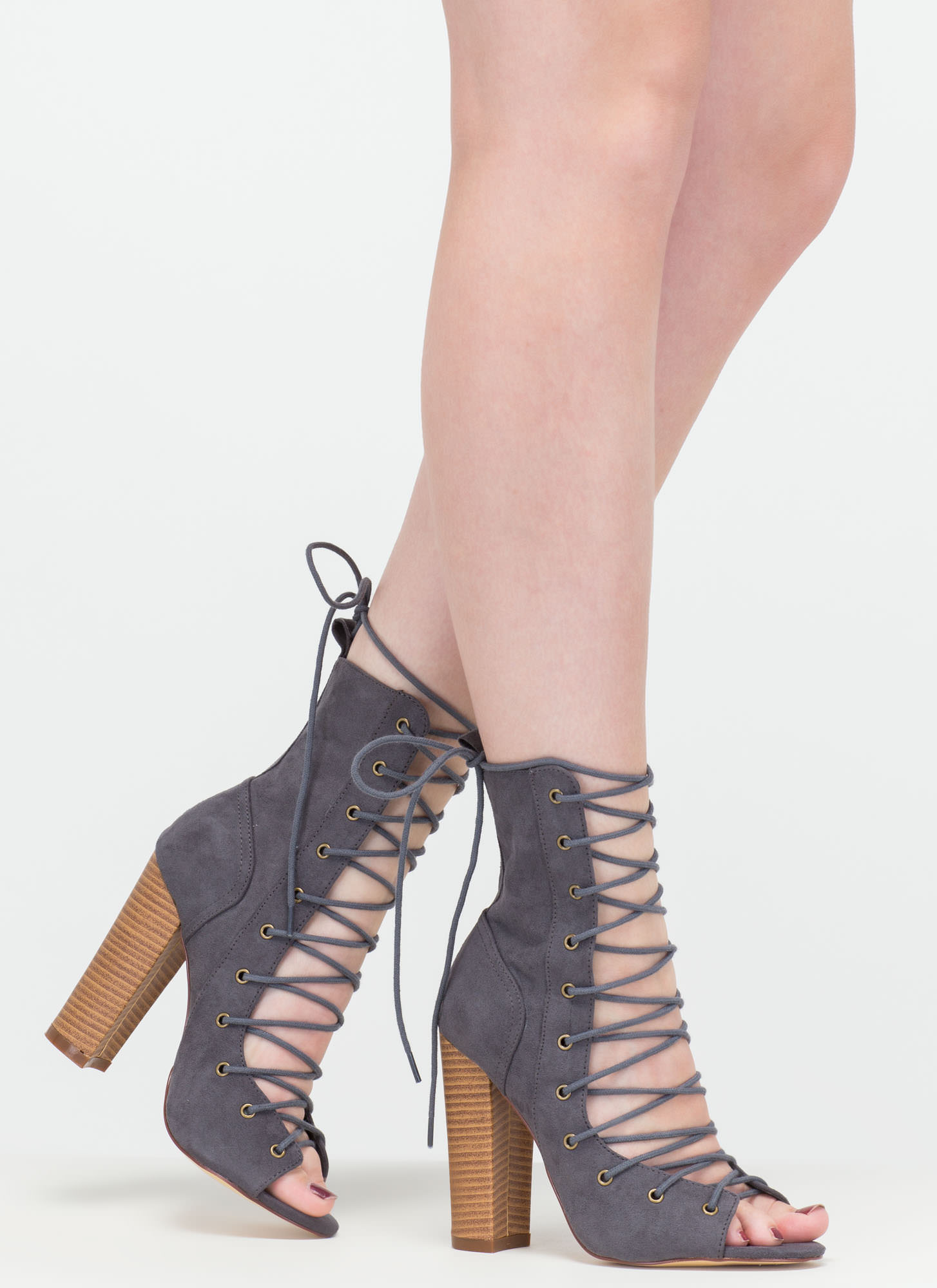 Lace Up Chunky Heel Booties AqyRAZgk