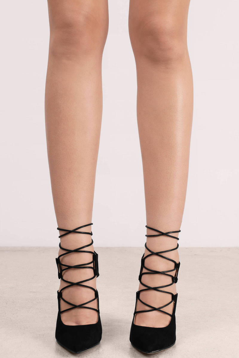 Lace Up Suede Heels AWOOzTJy