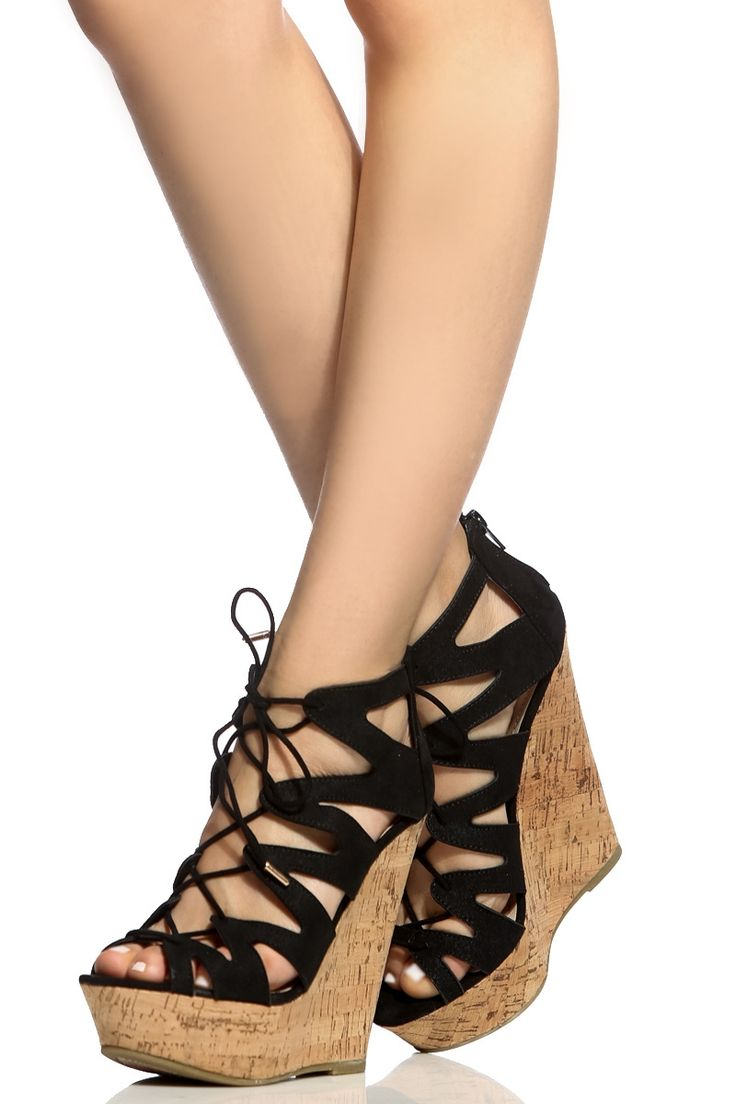 Lace Up Wedge Heels 4drEoo65