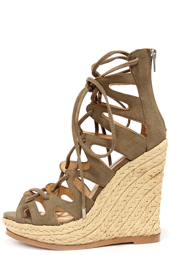 Lace Up Wedge Heels 91Exz5OJ