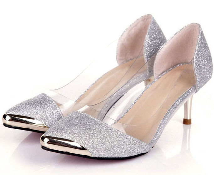 Low Heel Silver Pumps AHJA1UpW