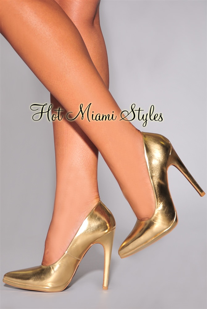 Metallic Gold Heels F1hBU7K7