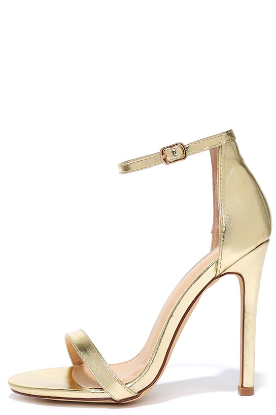 Metallic Gold Sandals Heels FoekUBtm