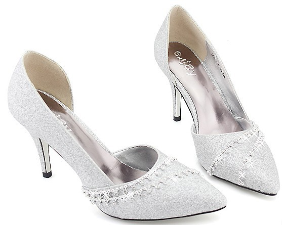 Mid Heel Silver Shoes 52LG1DXC