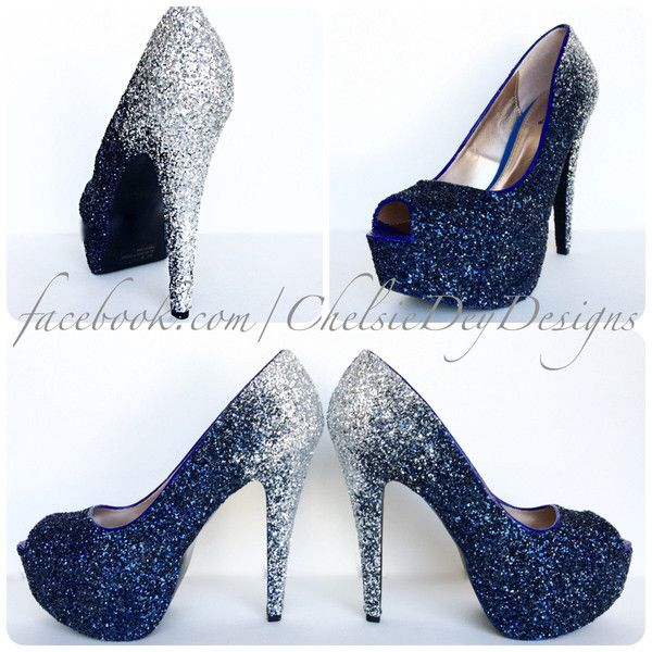 Navy Blue And Silver Heels MqyDl014