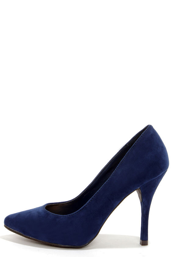 2d4218dce8 Navy Blue Shoes Heels HS477LCx. Navy Suede Pointy Toe Pumps ...