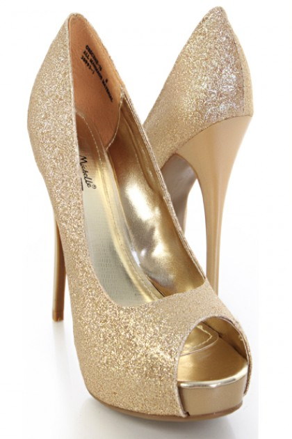 Open Toe Gold Heels AXEUMxtd