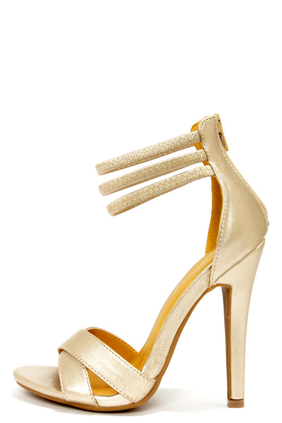 Open Toe Gold Heels psCpFRCt