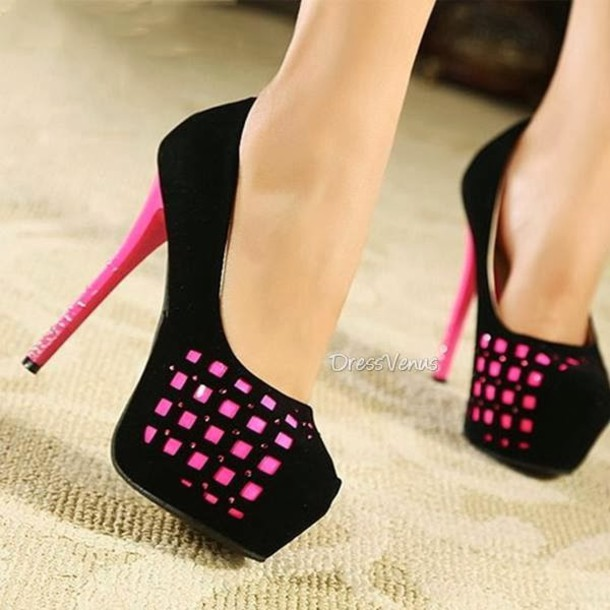 Pink And Black Shoes Heels dgyUD1B7