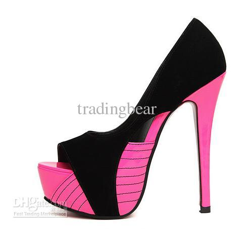 Pink And Black Shoes Heels eiCRyFsO