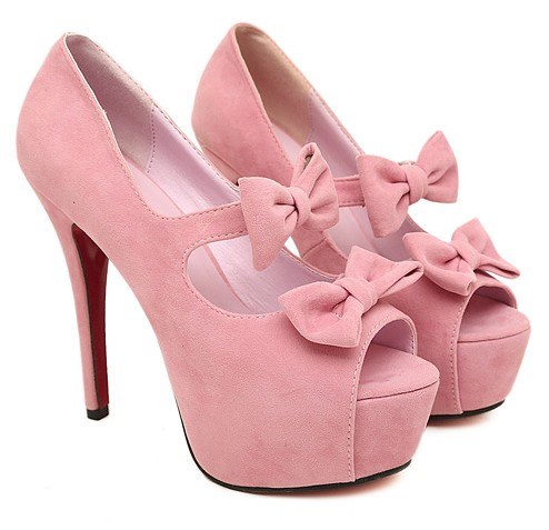 Pink High Heels With Bow 7AveLWOu