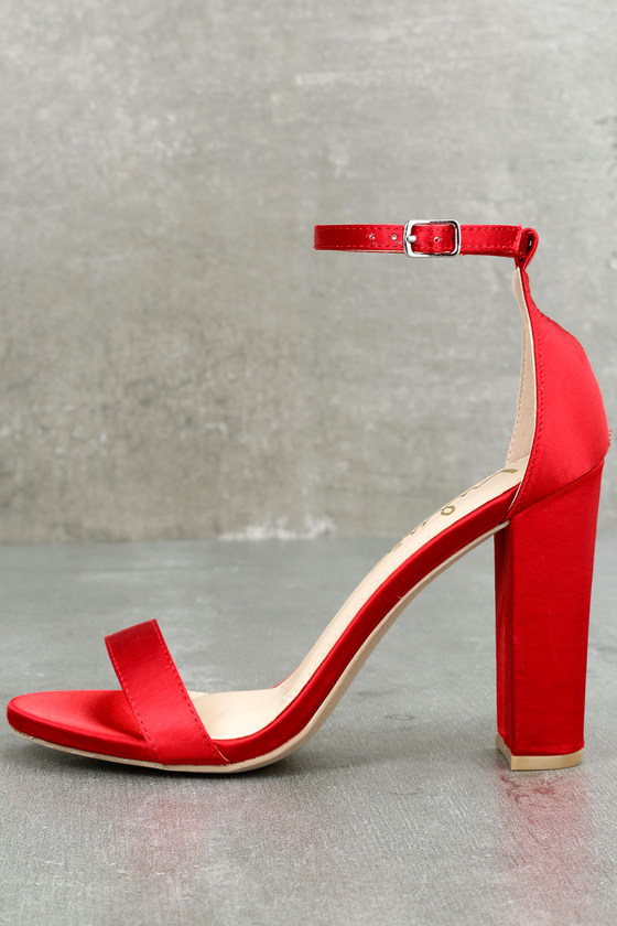 Red Ankle Strap Heels 6Bucc26T