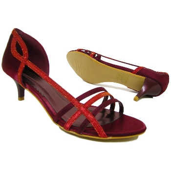Red Kitten Heel Sandals c2l6E0Vz