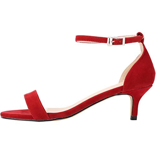 Red Kitten Heel Sandals 7nMNXtV5
