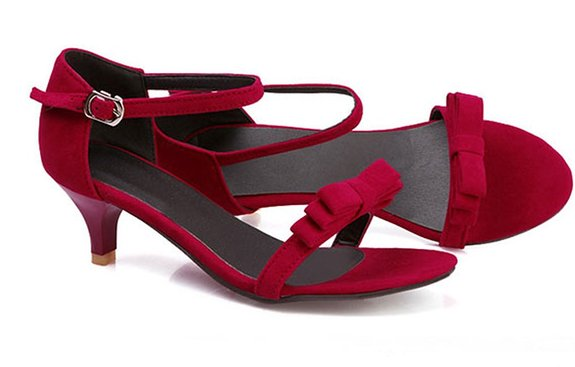 Red Kitten Heel Sandals RnEUo4FB
