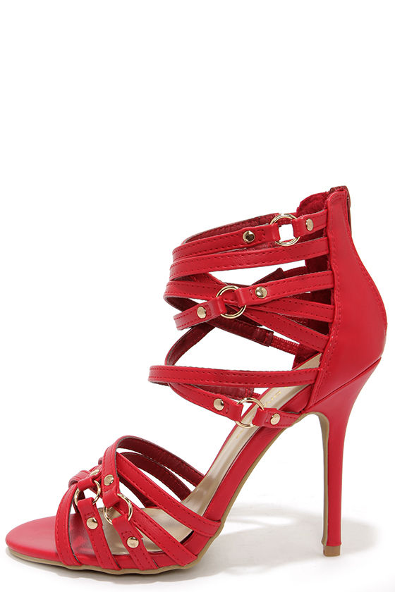 Red Strappy High Heels mKglhgSu