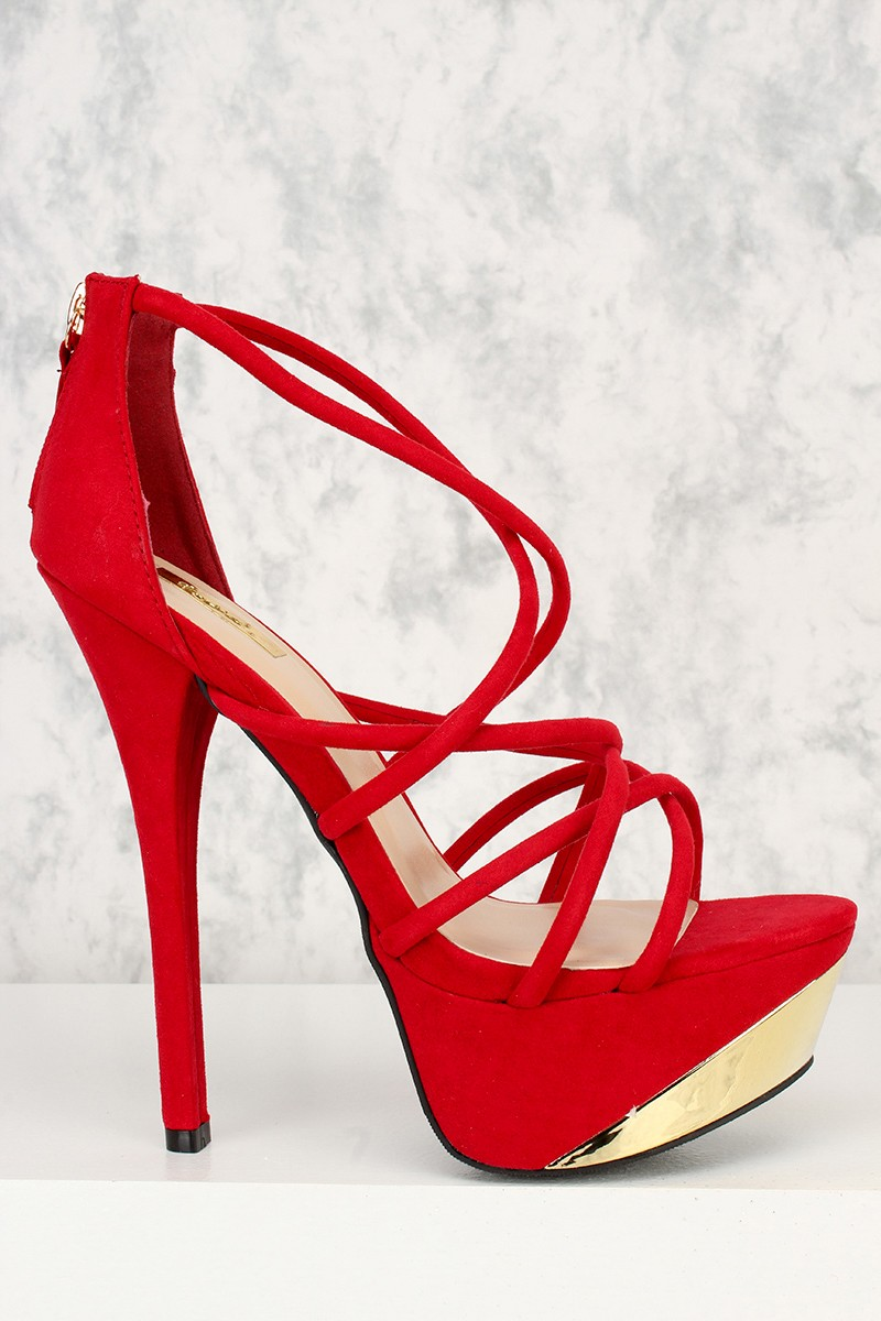 Red Strappy Platform Heels rt5rBemD