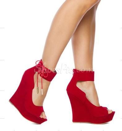 Red Wedge Heels With Ankle Strap hvCrXGyr