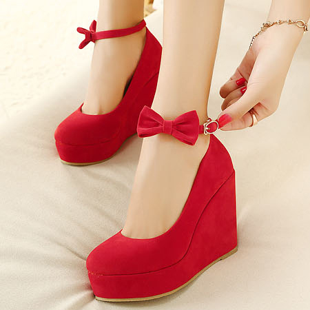 Red Wedge Heels With Ankle Strap KFE1q8nL